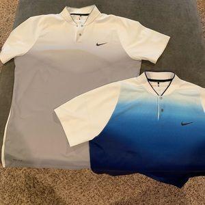 Lot of 2 Nike TW Tiger Woods Blade Shirts Large